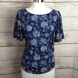 Lucky Brand Back Cutout Blouse, Size Large NWT